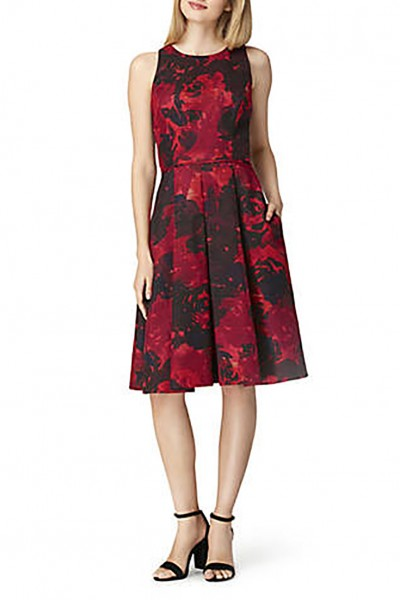 Tahari - Women's Basket Weave Sleeveless Floral Print Dress - Black Red