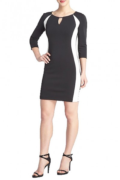 Tahari - Women's Block Long Sleeve Scuba Dress - Black White