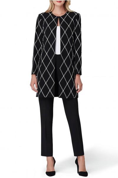 Tahari - Women's Diamond Print Pearl Trim Topper Jacket - Black White