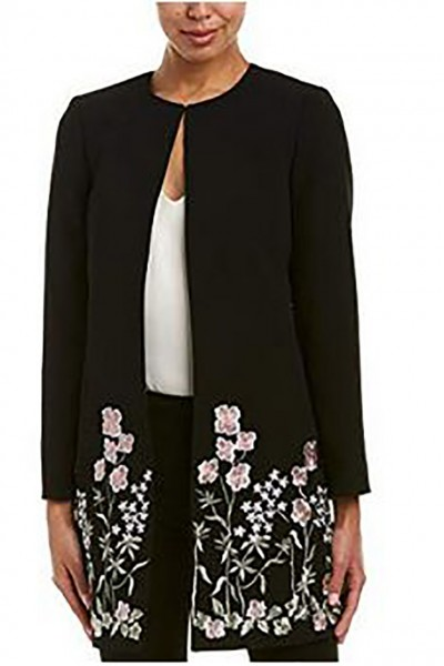 Tahari - Women's Duster In Andrew Crepe With Floral Embroidery Coat - Black