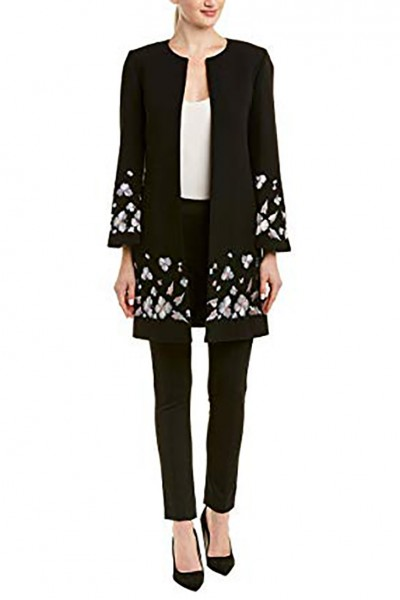 Tahari - Women's Long Andrew Drape Topper Coat With Floral Embroidery At Hem - Black