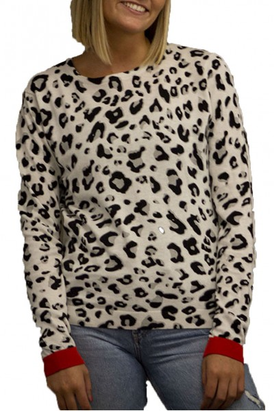 Brodie - SP19A - Lucy Leopard Top - Laser White Grey Leo