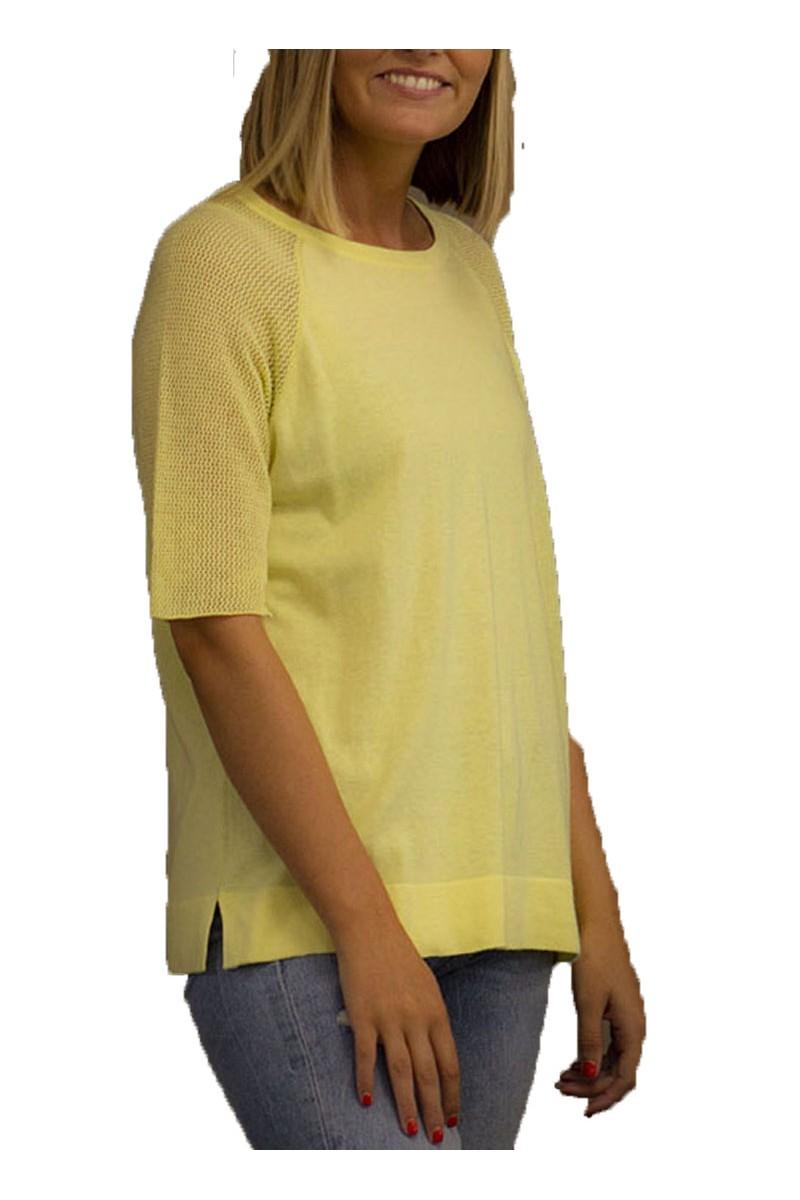 Brodie - SP19A - Megan Pointelle Top - Lemon Sorbet
