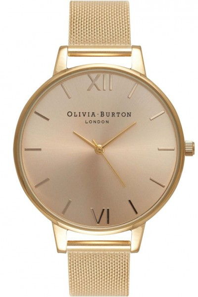 Olivia Burton - Women's Sunray Big Dial Mesh Bracelet Watch - Gold Mesh