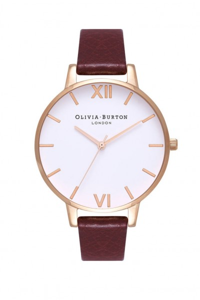 Olivia Burton - Women's Big Dial Watch - White Burgundy Rose Gold