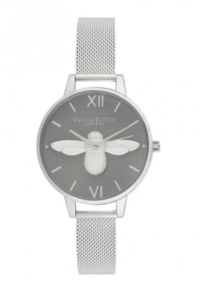 Olivia Burton - Women's 3D Bee Demi Dial Watch - Grey Silver