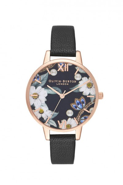 Olivia Burton - Women's Bejewelled Floral and Pearl Bee Gift Set Watch - Black