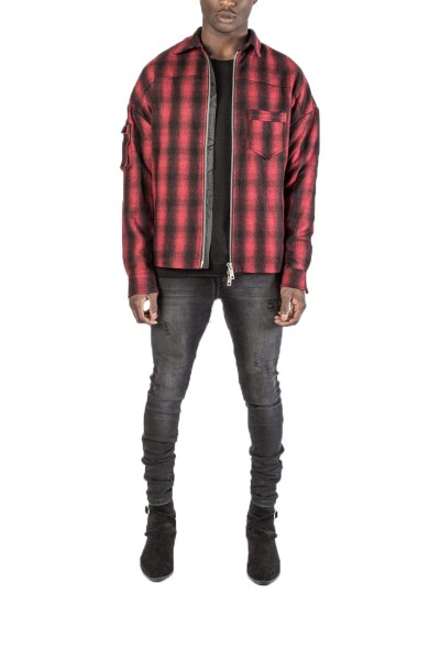 Kollar - Men's Zip Flannel Shirt - Red