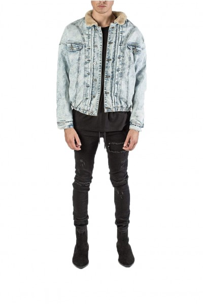 Kollar - Men's Shearling Jean Jacket - Blue