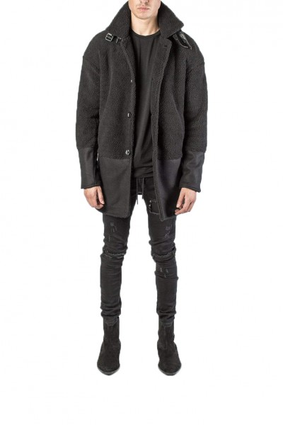 Kollar - Men's Shearling Overcoat - Black
