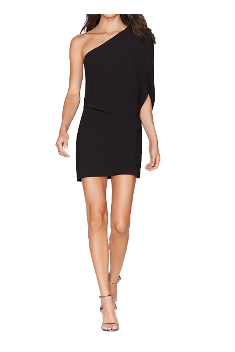 Halston - FA18A - One Shoulder Asymmetric Sleeve Dress - Black
