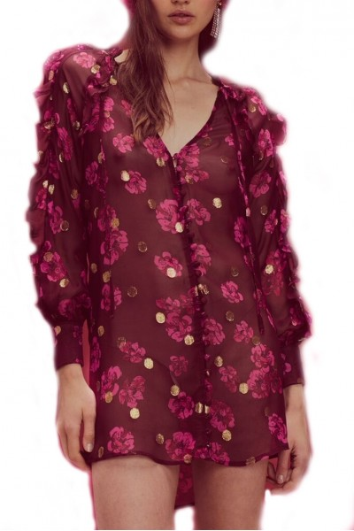 For Love And Lemons - Women's Romy Button Up Dress - Lurex Pansy
