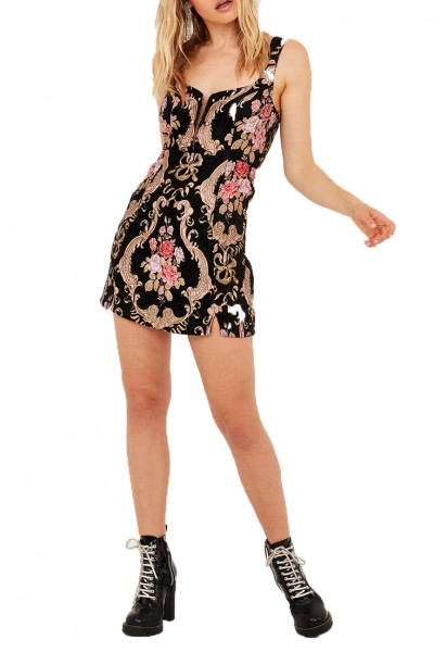 For Love And Lemons - Women's Brocade Tapestry Mini Dress - Black Floral