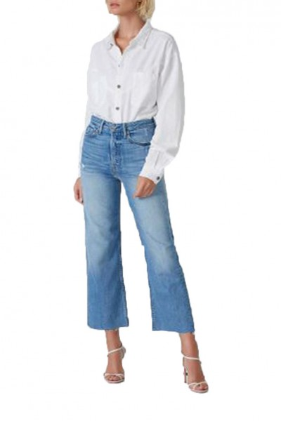 Grlfrnd - Bobbi High Rise Wide Leg Crop Jean - Gonna Fly Now