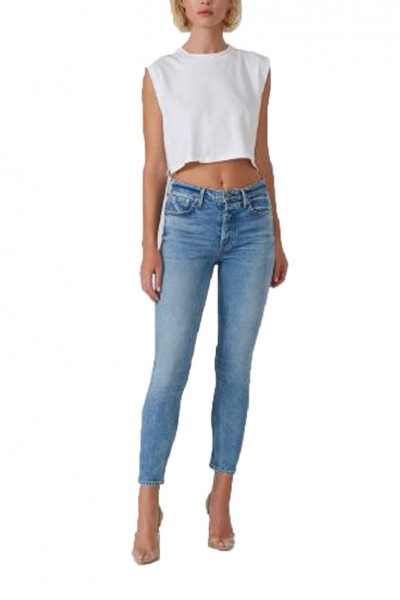 Grlfrnd - Karolina High Rise Skinny Crop Clean Jean - On The Run