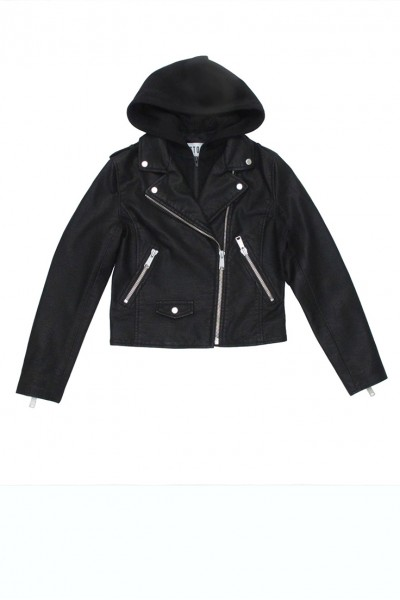 Pistola - Dakota Hooded Vegan Leather Jacket - Raven