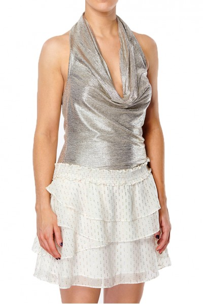 Ramy - Dee Foil Textured Jersey Top - Gold