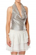 Ramy - Dee Foil Textured Jersey Top - Gold