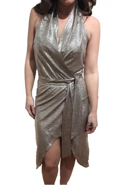 Ramy - Mara Foil Textured Jersey Dress - Gold