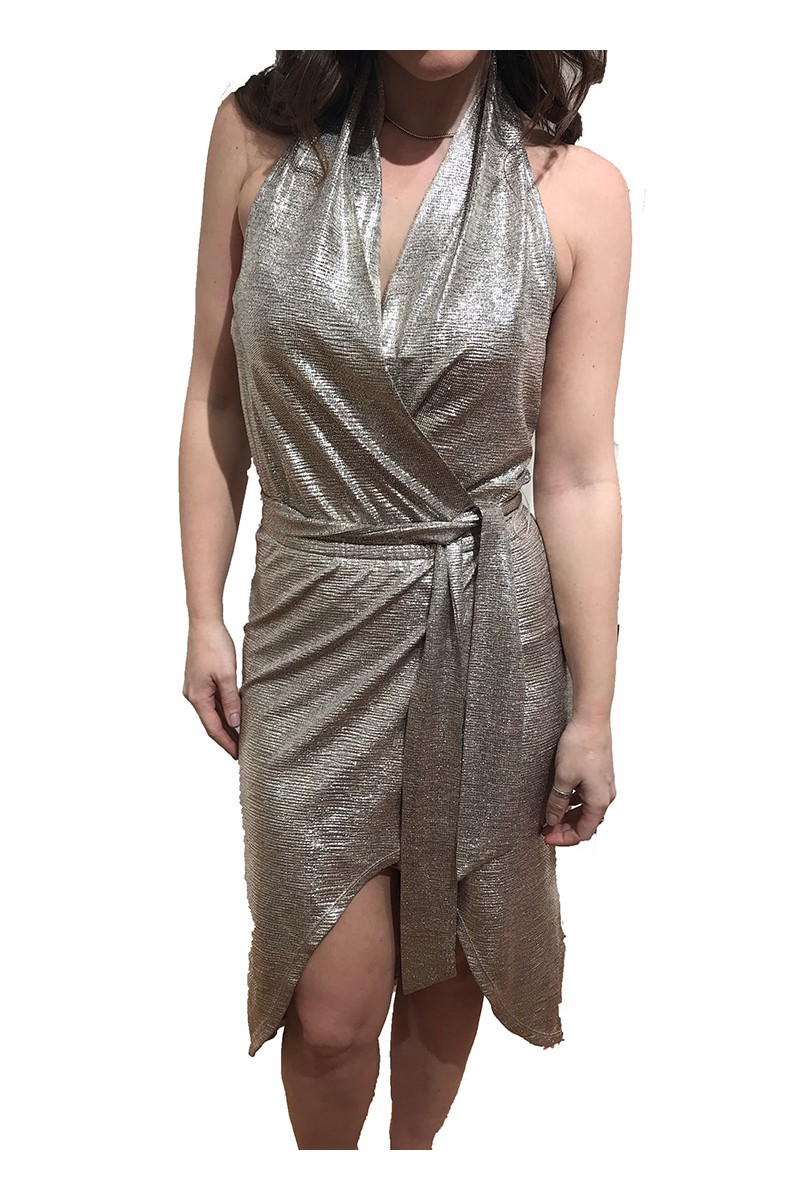 Ramy - Mara Foil Textured Jersey Dress - Gold