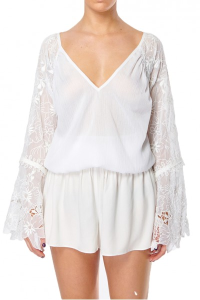 Ramy - Crystal Cut Out Floral Top - Ivory