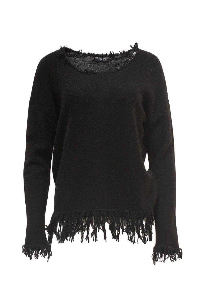 Central Park West - Fringe Scoop Neck Sweater
