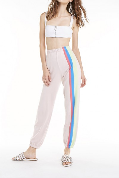 Wildfox - SP19B - Mellow Stripes Bottoms Easy Sweats - Quartz