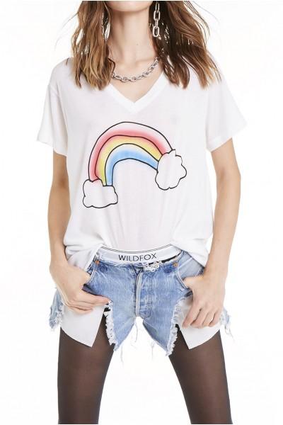 Wildfox - Rainbow Airbrush Romeo V-neck Tee - Vanilla