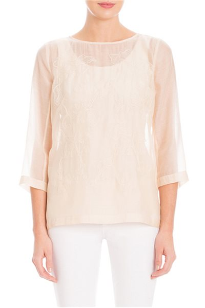 Nic+Zoe - Embroidered Batiste Top - French Vanilla