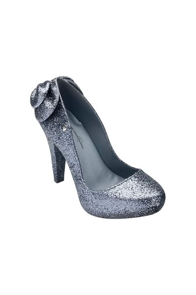 Final Sale Melissa White Incense Glitter High Heel Shoe - Gray