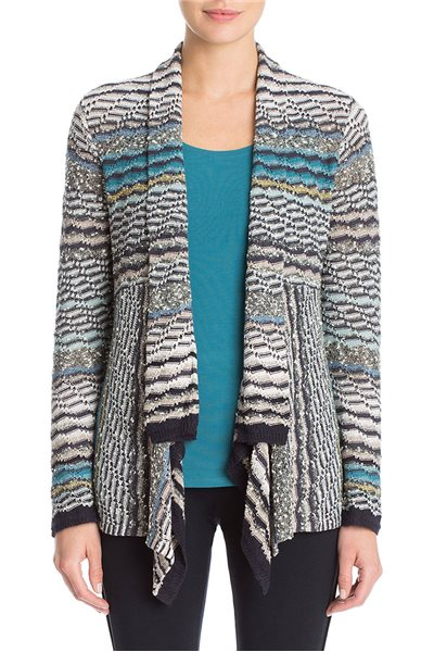 Nic + Zoe - Shaded Stripes Cardy - Multi