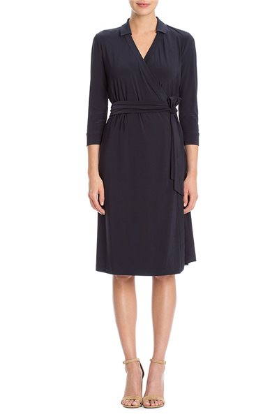 Final Sale Nic+Zoe - Luxe Tie Wrap Dress - Midnight