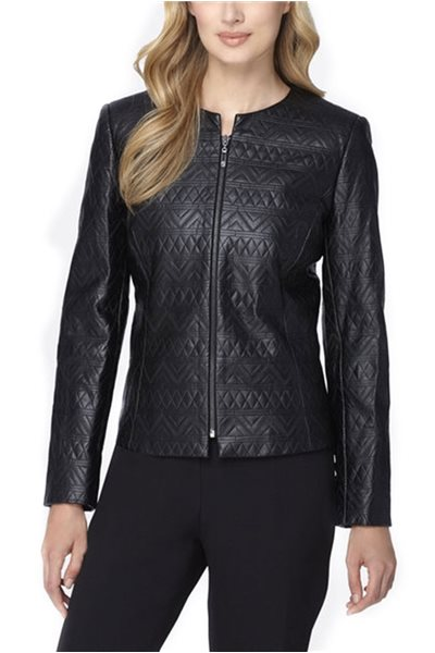 Final Sale Tahari - Quilted Faux Leather Jacket - Black
