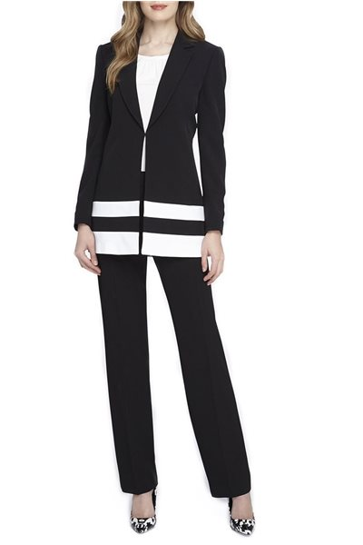 Final Sale Tahari - Border Striped Crepe Pantsuit - Black