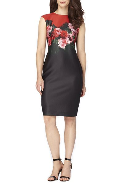 Tahari - Women's Scuba Sheath Dress - Black Scarlet
