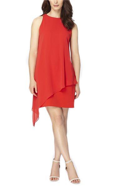 Final Sale Tahari - Women's Chiffon Overlay Crepe Dress Scarlet