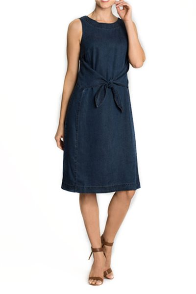 Final Sale Nic + Zoe - Denim Days Tie Dress - Rich Indigo