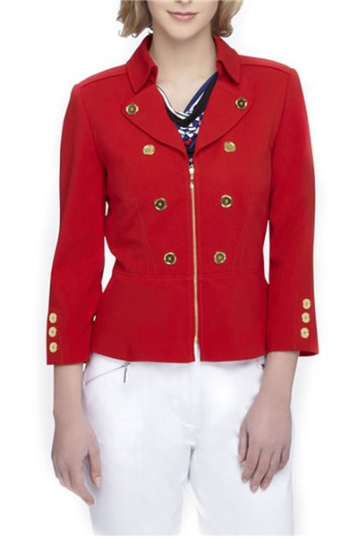 Final Sale Tahari - Coachman Collar Jacket - Tomato Red