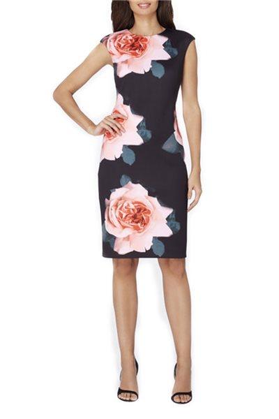 Tahari - Large Scale Floral Print Scuba Sheath - Black Rose Blush