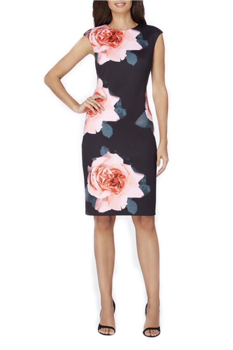 Tahari - Large Scale Floral Print Scuba Sheath - Black Rose Blush