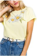 Wildfox - Fresh As A Daisy Destroyed Heights Crew Tee - Banana Brulee
