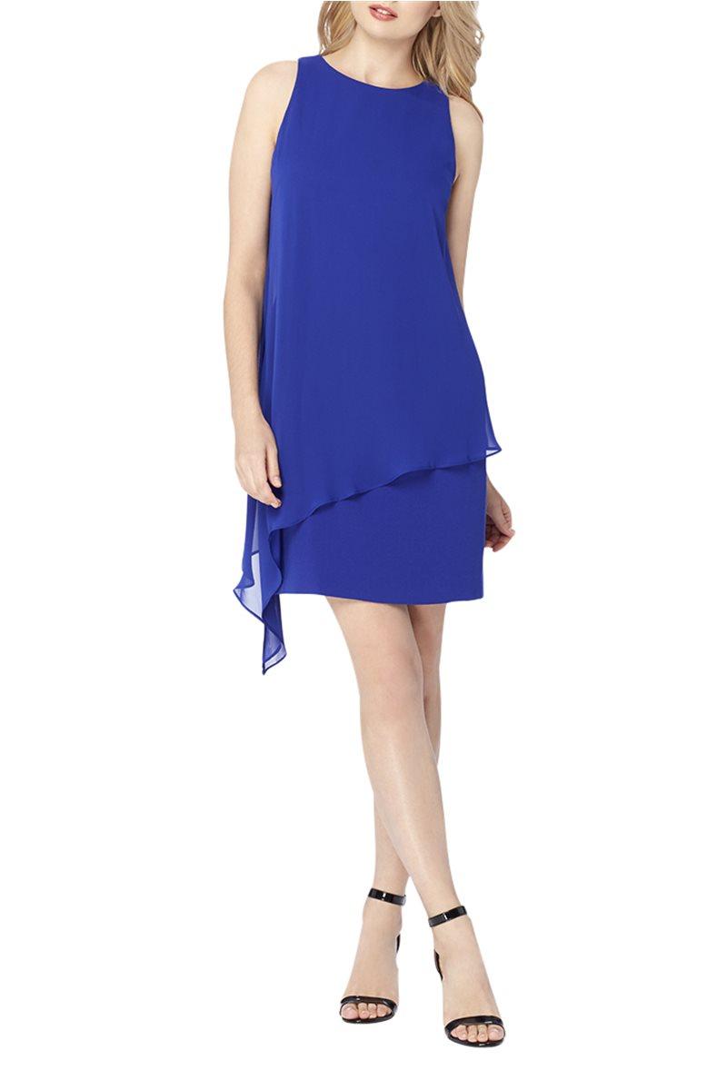 Tahari Brand - Chiffon Overlay Crepe Dress - Cobalt