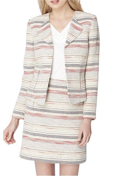 Final Sale Tahari Brand - Woven Stripe Zip-Pocket Jacket - Beige Black Red