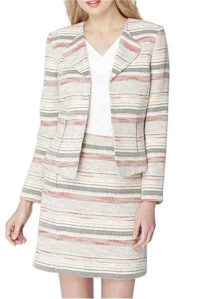 Tahari Brand - Woven Stripe Zip-Pocket Jacket - Beige Black Red