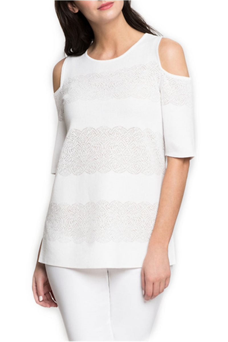 Nic + Zoe - Cold Shoulder Top - Paper White