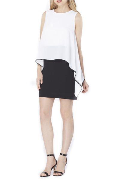 Final Sale Tahari - Two-Tone Pebble Crepe Popover Dress - Black/White