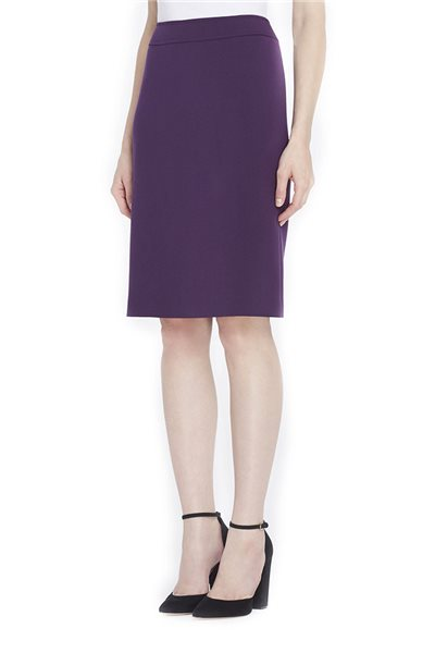 Tahari Brand - Ponte Knit Straight Skirt - French Purple