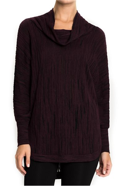 Final Sale Nic + Zoe - Cowled knit top - Wine