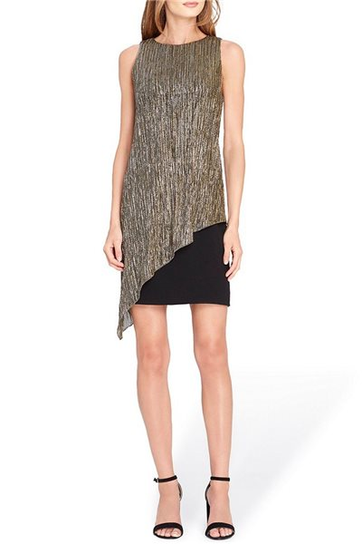 Tahari Brand - Metallic Overlay Sheath Dress - Black - Gold