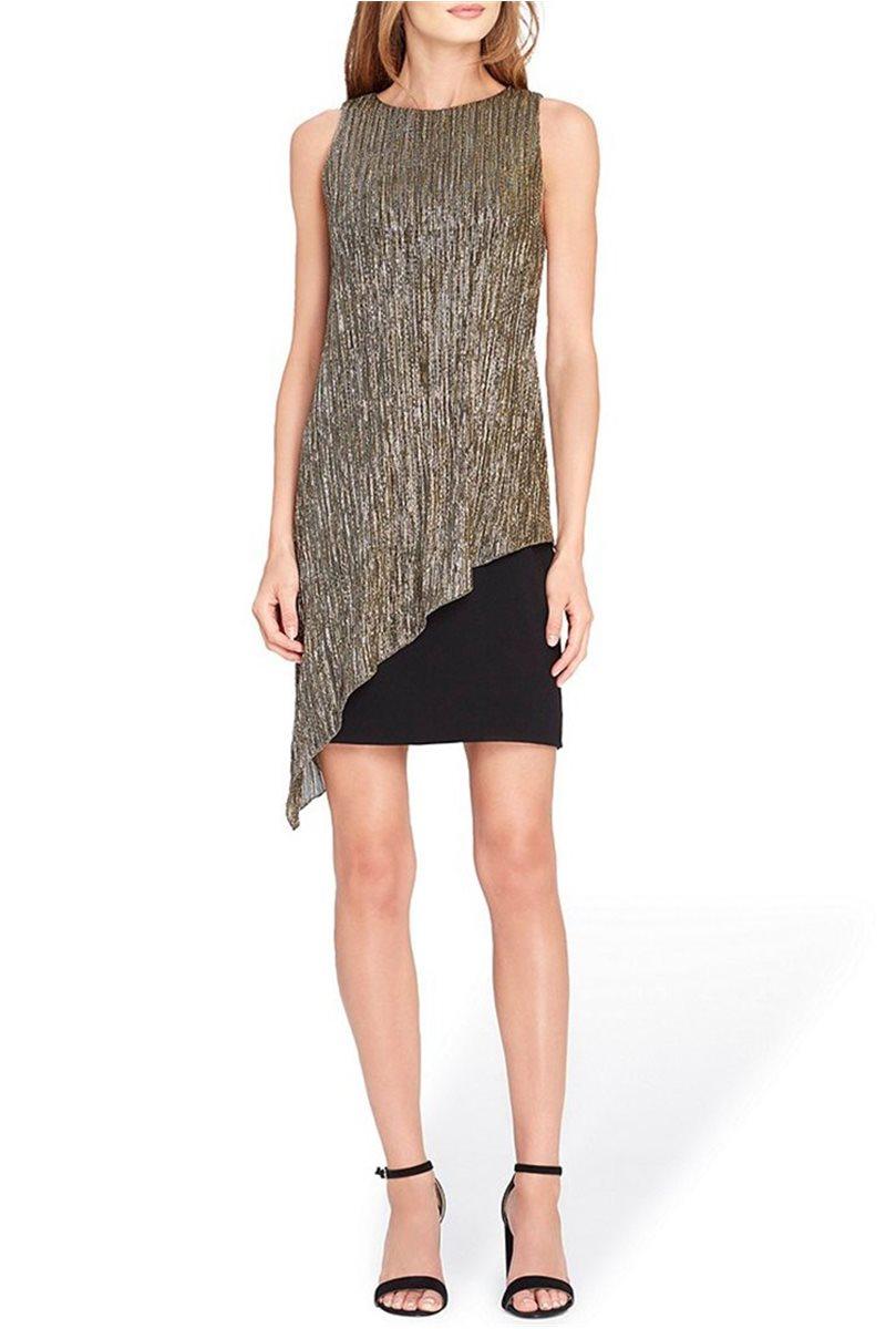 Tahari Brand - Metallic Overlay Sheath Dress - Black - Gold